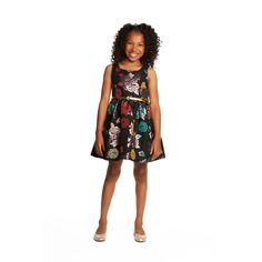 Krista Floral Brocade Dress | Here's a classic party dress your girl can wear to all kinds of events. It features a beautiful brocade with iridescent metallic flowers, purple binding, princess seams and a faux patent leather belt. And it's so soft and comfortable, you might catch her wearing it around the house for fun!