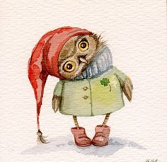 owl in red hat (artist unknown)