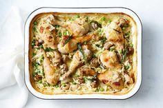 Creamy chicken and risoni tray bake