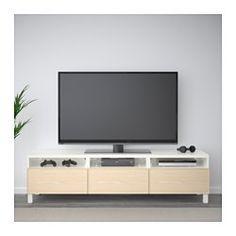 BESTÅ TV bench with drawers, white, Grundsviken dark grey - cm - drawer runner, soft-closing - IKEA Living Room Tv Unit, Ikea Living Room, Living Rooms, Tv Banco, Besta Tv Bank, Grey Tv Unit, Murs Beiges, Bench With Drawers, Large Drawers