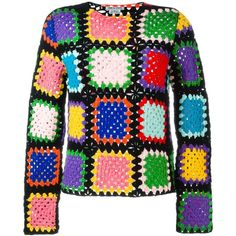 Comme Des Garçons Vintage crochet sweater ($1,120) ❤ liked on Polyvore featuring tops, sweaters, jumpers, multicolor, vintage sweaters, multi colored sweater, vintage tops, vintage crochet top and long sleeve jumper