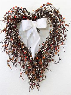 READY TO SHIP - Front Door Decor - Valentine Wreath - Mixed Red Berry Wreath - Wedding Wreath - Home Decor - Heart Wreath - Pip Berry Wreath by Designawreath on Etsy