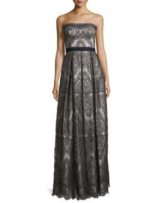 Strapless+Pleated+Metallic+Lace+Gown,+Gunmetal/Silver+by+Catherine+Deane+at+Bergdorf+Goodman.