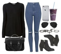 """""""Style #9821"""" by vany-alvarado ❤ liked on Polyvore featuring Topshop, T By Alexander Wang, The Cambridge Satchel Company, Ray-Ban, maurices, women's clothing, women, female, woman and misses"""