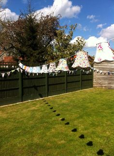 Wedding vintage lampshades bunting garden village hall