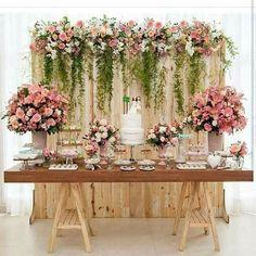 Bridal Shower Table Set Up Backdrops 45 Best Ideas Wedding Cake Table Decorations, Wedding Table, Rustic Wedding, Wedding Ideas, Wedding Cakes, Dessert Table Backdrop, Pallet Wedding, Garden Wedding, Dessert Wedding