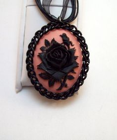 necklace chainmaille cameo jewelry black by Eternalelfcreations, $15.00