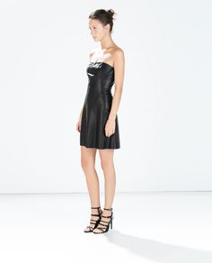Image 1 of STRAPLESS FAUX LEATHER DRESS from Zara