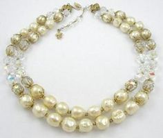 Vendome Pearl and Crystal Necklace - Garden Party Collection Vintage Jewelry