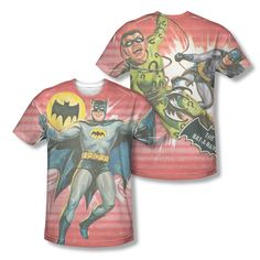Batman Classic Comic Strip V.S. The Riddler DC All Over Print Men T-shirt Top  Official Licensed Batman All Over Front And Back Sublimated Print #Batman #DCComics #BatmanTshirt #BruceWayne #VintageComicsr #TheRiddler #TheCapedCrusader #TheDarkKnight #GothamCity  #BatSignal #BatLogo #BatSymbol