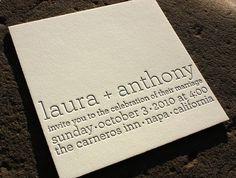 One color letterpressed, modern wedding invitation by http://lioninthesunps.com