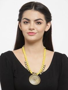 Fashion Pachi Pendant With Poth Beading Yellow Color Necklace Fashion Jewelry Stores, Bold Fashion, Jaipur, Fashion Necklace, Jewelry Collection, Plating, Gold Necklace, Pendants, Jewellery