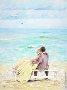 """Купить Картина """"Мятное море любви"""" - мятный, любовь, море, романтика, мужчина и женщина"""