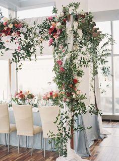 Dusty Blue Wedding Table, Greenery Canopy