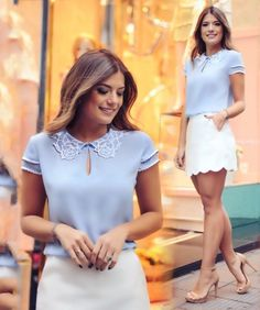 Such a beautiful blue color! A blue blouse paired with ivory short skirt. The whole look is just absolutely feminine and so elegant. Great way to take eyes away from your petite frame and focus them entirely on your outfit! Girl Fashion, Love Fashion, Fashion Outfits, Womens Fashion, Summer Outfits, Casual Outfits, Cute Outfits, Blouse Styles, Blouse Designs