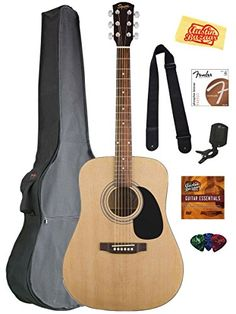 Fender Squier Acoustic Guitar Bundle with Gig Bag, Clip-O...
