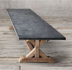 """RH's Salvaged Wood & Marble X-Base Rectangular Dining Table:Our table pairs a 2""""-thick marble top with the natural beauty of solid salvaged pine timbers from 100-year old European buildings."""