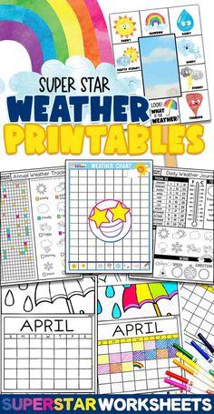 Preschool Weather Chart, Weather Worksheets, Science Worksheets, Weather Symbols For Kids, Home Learning, Student Learning, Weather Tracking, Weather Calendar, Science Journals