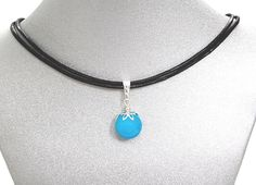Natural Gemstone Blue Jade Faceted SMALL Pendant 14mm Necklace Black Cord USA #Handmade #FacetedPendantNecklace #Healing #Protection #Love #Luck