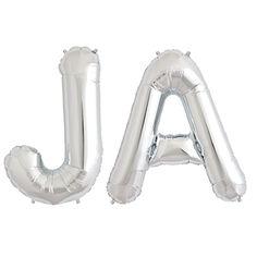 """Sagen Sie ja! Mit diesem XXL Folienballon Buchstabenset """"JA"""" in Silber."""