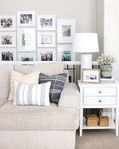 Modern farmhouse homedecor inspo, light and bright spaces, studio mcgee inspired, home decor, simole home style, revere pewter walls, throw pillow pairings
