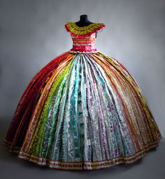 Candyprincess by artist Virpi Vesanen-Laukkanen.omg this rocks Chic Dress, Dress Up, Recycled Fashion, Fashion Project, Recycled Art, Beautiful Gowns, Lovely Dresses, Textile Art, Rainbow Colors