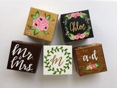 Bridesmaid proposal, big/little gift, ring bearer box, small jewelry box, custom box. Wooden Box Crafts, Painted Wooden Boxes, Small Wooden Boxes, Painted Jewelry Boxes, Hand Painted, Big Little Gifts, Little Presents, Baby Presents, Sorority Pin Box