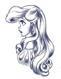 Ideas for drawing disney sketches ariel the little mermaid Disney Princess Drawings, Disney Princess Ariel, Disney Sketches, Disney Drawings, Cartoon Drawings, Cool Drawings, Drawing Sketches, Drawing Ariel, Sketching