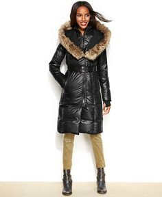 RUD styled by RUDSAK Faux-Fur-Trim Belted Puffer Down Coat - Coats - Women - Macy's