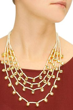 Gold plated pearls and kundan four chain necklace available only at Pernia's Pop-Up Shop.