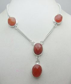 Silver Tone Metal Red Onyx Stone Gemstone Necklace Jewelry Fine Quality NK_227 28 GM ready to ship
