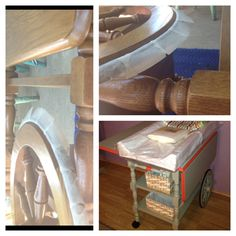 Changing table: old fashion tea cart, sand and paint! Later it can be used as a kiddie craft table or tea cart!