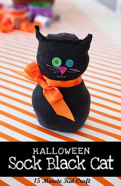 """15 Minute Halloween Craft: Black Sock Cat or """"what to do with all the socks with no mate"""""""