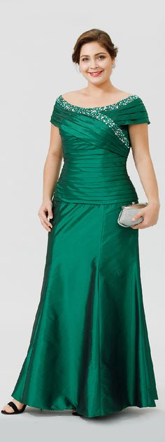 A-Line Scoop Neck Ankle-length Taffeta Mother of the Bride Dress with Beading Ruching by LAN TING BRIDE®