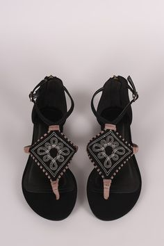 8811d39c801a Bamboo Nubuck Embroidery And Whipstitch Thong Flat Sandal
