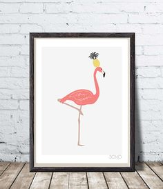 Displays pineapple on the head of a pink Flamingo wall by SOKOhome