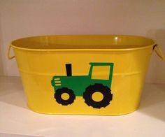Yellow metal bucket john Deere tractor party by pinktreepapers, $22.00