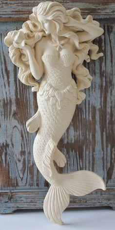 Mermaid Wood Wall Art - Blue Tail Mermaid - Nautical Wall Decor - California Seashell Company