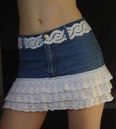 Diy para hacer una falda vaquera reciclando un pantalón. …