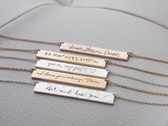 20% OFF* - Actual Handwriting Bar Necklace - Personalized Signature Necklace - Memorial Wedding Jewelry - Mother's Gift PN10.40