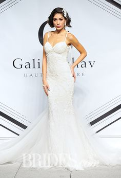 "Galia Lahav - Fall 2015. ""Nikita"" spaghetti strap lace embroidered sheath wedding dress with a sweetheart neckline, Galia Lahav"