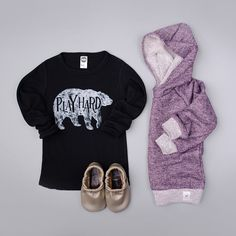 did you know that most of our pieces are unisex?? boys can wear purple too right?! and what a cute way for a little dude to rock his purple hoodie, add some distressed denim and he's good to go!    hoodie from FawnKidsClothing & tee from JollyGoodApparel & moccs from StarryKnightDesign
