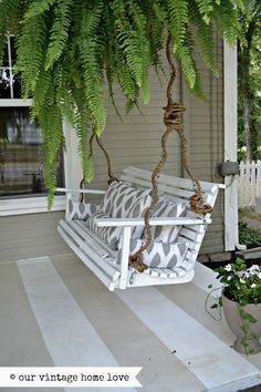 Weave rope around the chain on your porch swing...nice look
