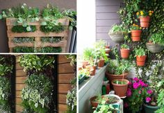 Balkon Gestalten Balkonmöbel Diy Ideen Vertikales Gardening Europalette  Blumentöpfe