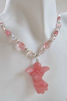 Cherry Quartz Angel Necklace by ShadowoftheCross on Etsy