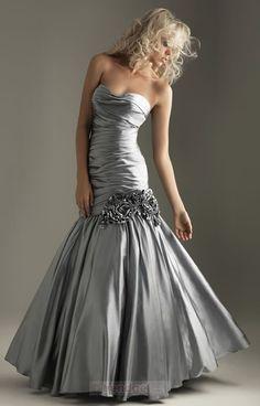 Mermaid Sweetheart Floor-length Elastic Woven Satin Silver Prom Dresses