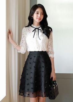 Ribbon Tie Pleated Detail Lace Blouse Korean Women's Fashion Shopping Mall, Styleonme. Korean Fashion Trends, Korean Street Fashion, Korean Women Fashion, Korean Dress, Korean Outfits, Girl Fashion, Fashion Dresses, Womens Fashion, Fashion 2018