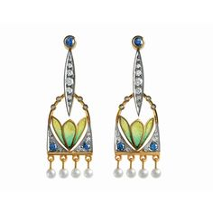 Masriera 18kt. yellow and white gold diamond, sapphire, pearl and cloisonné enamel earrings