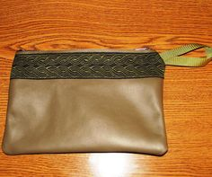 Olive Green LEATHER Celtic Rope Embroidered by ScentedSoftandSewn