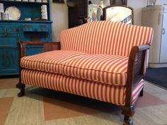 Antique French Victorian 2 Seater Sofa & Armchair Re-Upholstered Shabby Chic | eBay